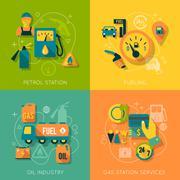 Set of gasoline station composition Stock Illustration