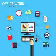 Office work concept - stock illustration