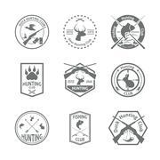 Set of hunting label Stock Illustration