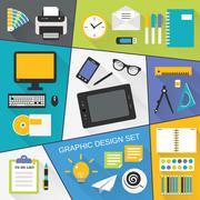 Graphic design flat set - stock illustration