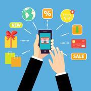 Online shopping concept - stock illustration