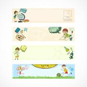 School kids education banners - stock illustration