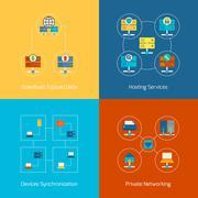 Hosting flat icons - stock illustration