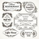 Floral restaurant labels Stock Illustration
