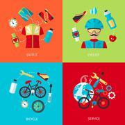 Bicycle icons flat set - stock illustration