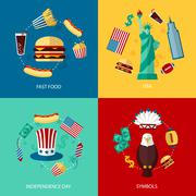 USA flat set Stock Illustration