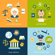 Law flat icons set Stock Illustration
