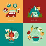 Camping flat icons set - stock illustration