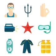 Diving icons flat - stock illustration