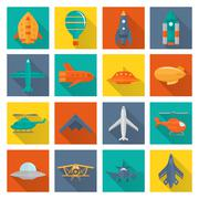 Aircraft icons set - stock illustration