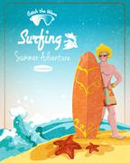 Surfing summer adventure poster Stock Illustration