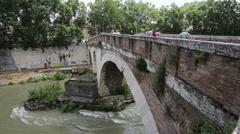 European pictorial stone bridge - stock footage
