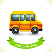 Education icon school bus Stock Illustration