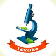 Education icon microscope - stock illustration