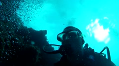 Diver Reef Wall Stock Footage