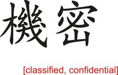 Chinese Sign for classified, confidential Stock Illustration