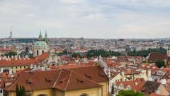 4k UHD time lapse pan historic city roofs of prague 11392 Stock Footage