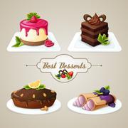 Sweets dessert set Stock Illustration