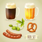 Beer and snacks set - stock illustration