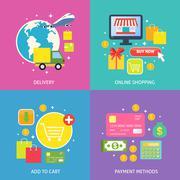 Business process concept flat - stock illustration