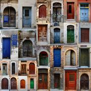 Collection of weathered doors in the old town of chania, crete island Stock Photos