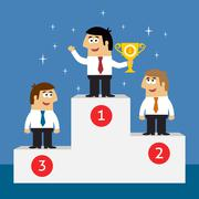 Business life employees on winners podium - stock illustration