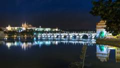 Prague charles bridge castle night time lapse 11393 Stock Footage