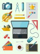 Designer workplace icons Stock Illustration