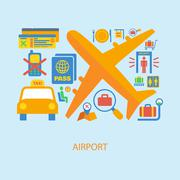 Airport icon flat Stock Illustration