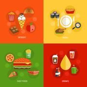 Food composition flat - stock illustration