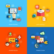 Internet shopping flat - stock illustration