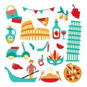 Stock Illustration of Italy decorative set