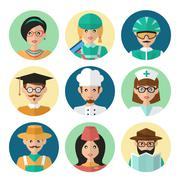 Faces Avatar Icons Stock Illustration