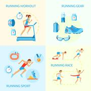 Running icons composition Stock Illustration