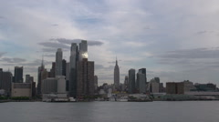 NY waterway ferry at the Hudson river with skyline Manhattan Stock Footage