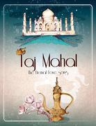 Taj Mahal retro poster Stock Illustration