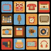 Vintage gadget icons - stock illustration