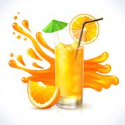 Orange juice ice Stock Illustration