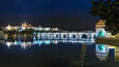 4k UHD prague charles bridge castle night time lapse 11394 Stock Footage