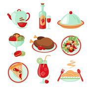 Restaurant food icons - stock illustration