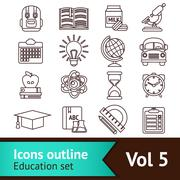 Education Icons Outline Stock Illustration