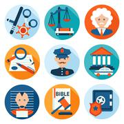 Law Icons Flat Stock Illustration