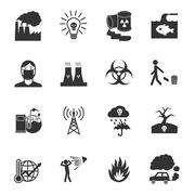 Pollution Icons Set - stock illustration
