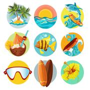 Surfing icons set - stock illustration