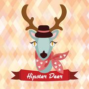 Hipster deer poster Stock Illustration
