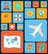 Stock Illustration of Travel icons flat set
