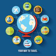 Stock Illustration of Travel flat concept