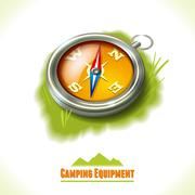 Camping symbol compass - stock illustration