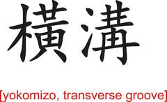 Chinese Sign for yokomizo, transverse groove - stock illustration