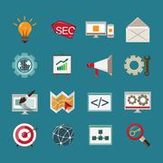 SEO icons set - stock illustration